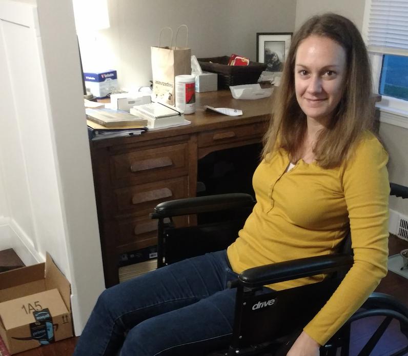 Katie in wheelchair
