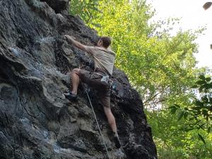 Japhet rock climbing